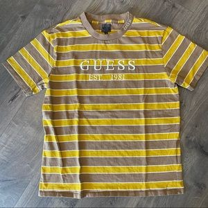 Vintage Guess Striped Gold and Brown Embroidered Shirt Size Medium
